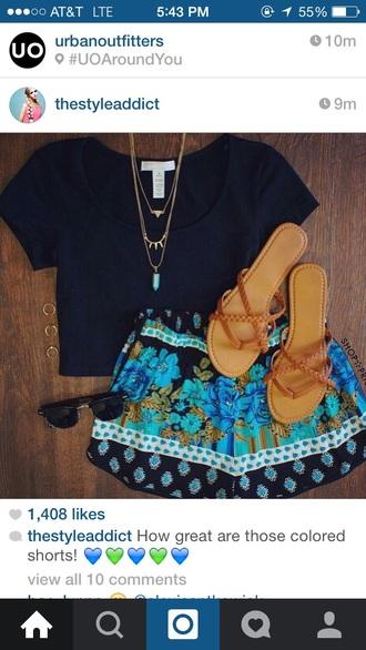 shorts outfitinspo turquiose floralshorts turquoiseshorts blackshorts tribalshorts coachella fashion coachella cute shorts jewels sunglasses shoes