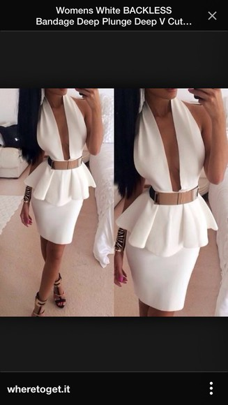 hot peplum halterneck bodycon dress