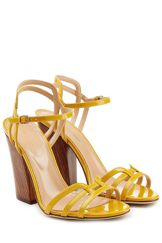 heel sandals leather sandals leather yellow shoes