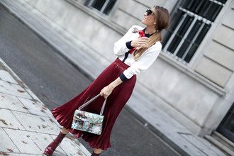 skirt tumblr red skirt midi skirt pleated skirt pleated shirt satin satin shirt embroidered bag gucci gucci bag dionysus boots ankle boots sunglasses holiday season christmas embroidered satin shirt