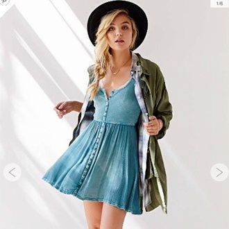 button up denim jacket dress hipster grunge urban outfitters