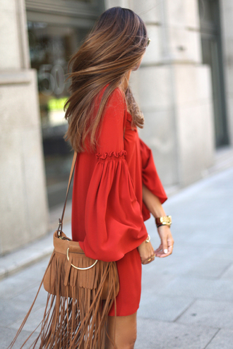 dress bell sleeve dress bell sleeves orange dress short dress summer dress long sleeve dress bag fringed bag brown bag
