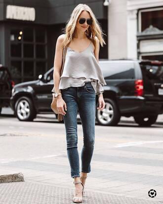 top tumblr grey top camisole denim jeans blue jeans sandals sandal heels high heel sandals sunglasses shoes