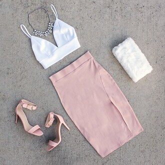 skirt ootd pink blush rose quartz rose fur crop tops bralette style me ootn girls night gojane