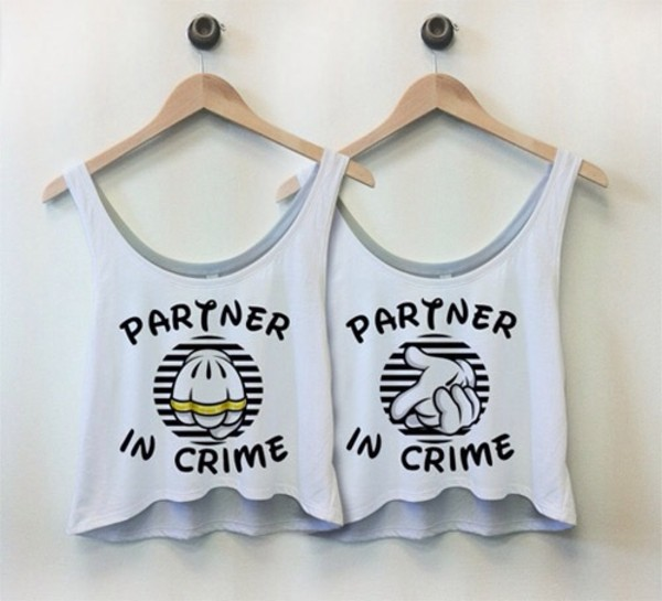 shirt partner in crime disney partners in crime t-shirt tank top bff top hi-lo bff bestie partner in crime white best friend shirts