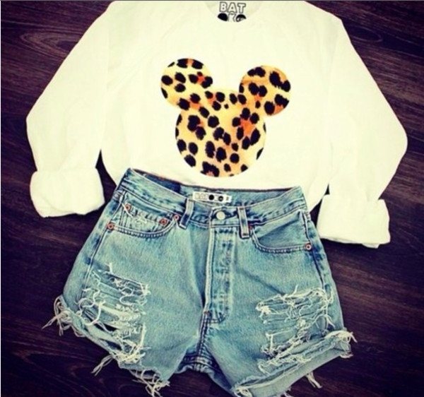 sweater clothes minnie mouse sweatshirt white long sleeves leopard print mickey mouse sweater mickey mouse batoko shirt