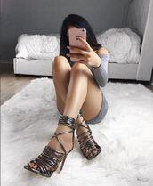 dress,heels,strappy heels,sweater dress,gun metal,shoes
