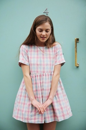 dress cute short sleeve pastel checkered smock dress