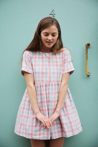 pastel dress cute short sleeve checkered