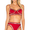 Norma kamali stud underwire bikini top in red & silver from revolve.com