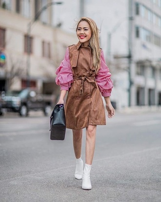 shoes boots white white boots coat top pink top bag vest
