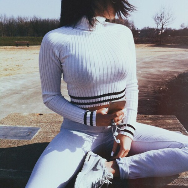 College Light Blue Jeans Cropped Sweater White Crop