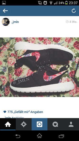 shoes nike nike roshes floral flowers floral tank top nike roshe run
