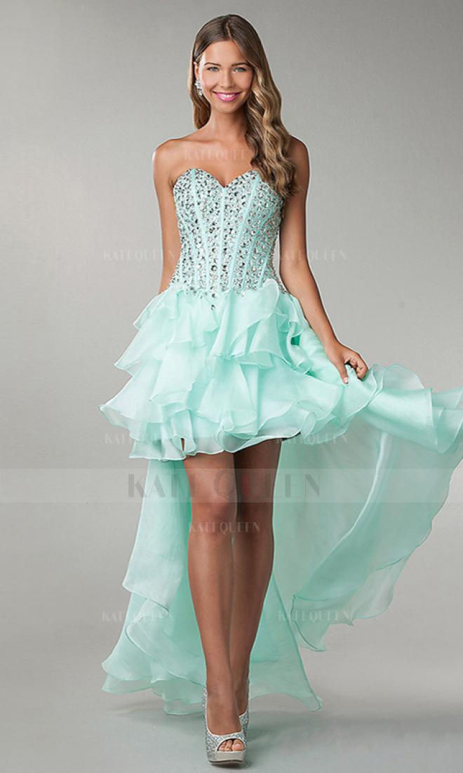 Line sweetheart chiffon high low homecoming dresses with rhinestone kq1404p800272
