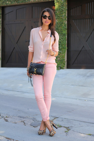 jeans pink jeans shirt pink shirt casual chic platform pumps platform heels pumps bag black bag rebecca minkoff sunglasses viva luxury blogger animal print pink top pink blouse pink pants shoulder bag mini bag thick heel all pink outfit
