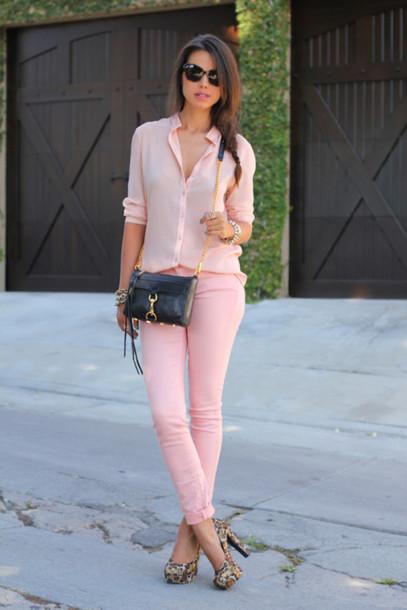 bfd3239b584ac jeans pink jeans shirt pink shirt casual chic platform pumps platform heels  pumps bag black bag