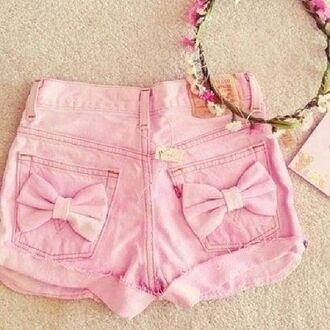 shorts bows pocket pink high waisted shorts