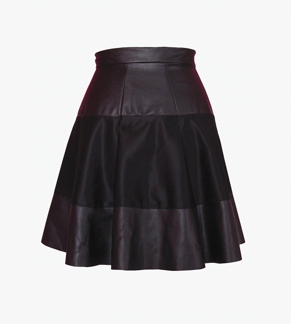 Faux leather taylor swift pleated mini skater skirt