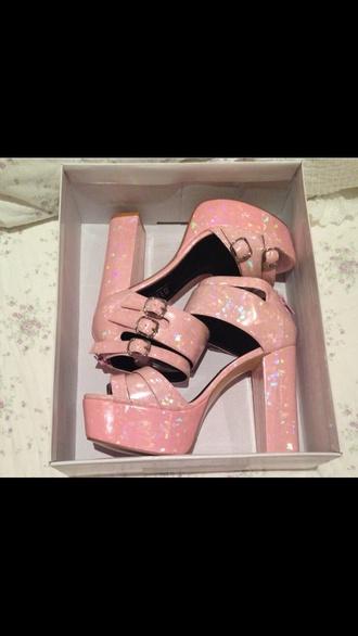 shoes pink high heels pink holographic platform shoes pink platform metallic mermaid beach funny pink heel beige high heels