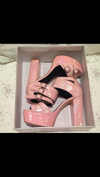 shoes pink platform pink high heels holographic pink platform, pink heel, beige high heels, spikes metallic mermaids beach funky