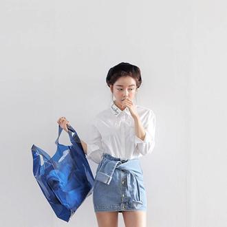 waist shirt jeans denim skirt mini tied