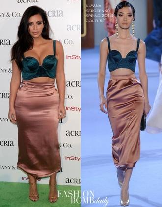 skirt dusty pink kim kardashian dress silk skirt