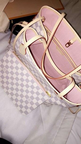bag louis vuttion grey white purse light pink desinger