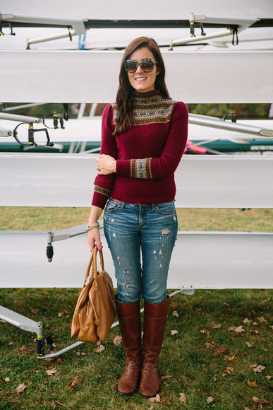 burgundy jeans blogger jewels bag ripped jeans classy girls wear pearls Belt sunglasses
