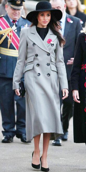 coat meghan markle grey grey coat pumps clutch hat
