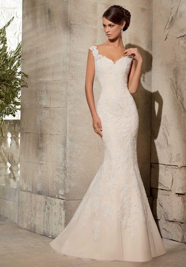 Classic Trumpet Wedding Dresses : Dress classic trumpet mermaid v neck dropped train wedding dresses