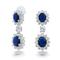 Cz crown sapphire color cluster chandelier earrings