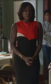dress,orange and black,colorblock,sleeveless,annalise keating,how to get away with murder,viola davis,sheath