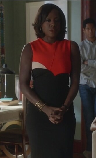 dress orange and black colorblock sleeveless annalise keating how to get away with murder viola davis sheath