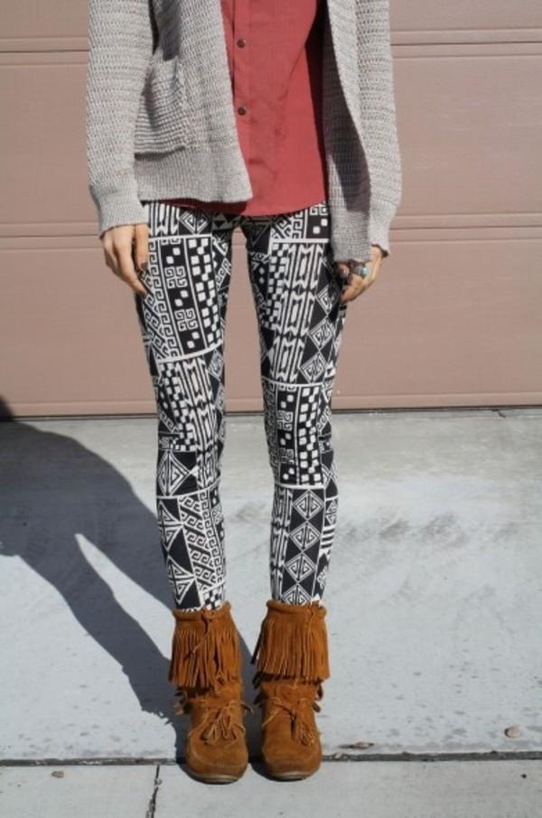 jeans aztec leggings leggings