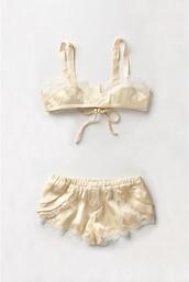 underwear,lace,pale,shorts,pajamas,satin,bralette,bra,yellow,beige,sleepwear,anthropologie