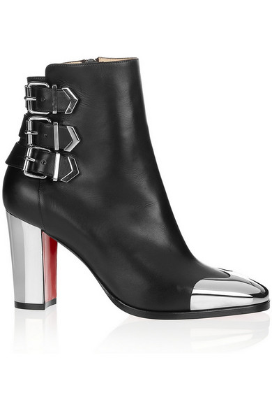 Christian Louboutin | Chelita 85 metal-detailed leather boots | NET-A-PORTER.COM