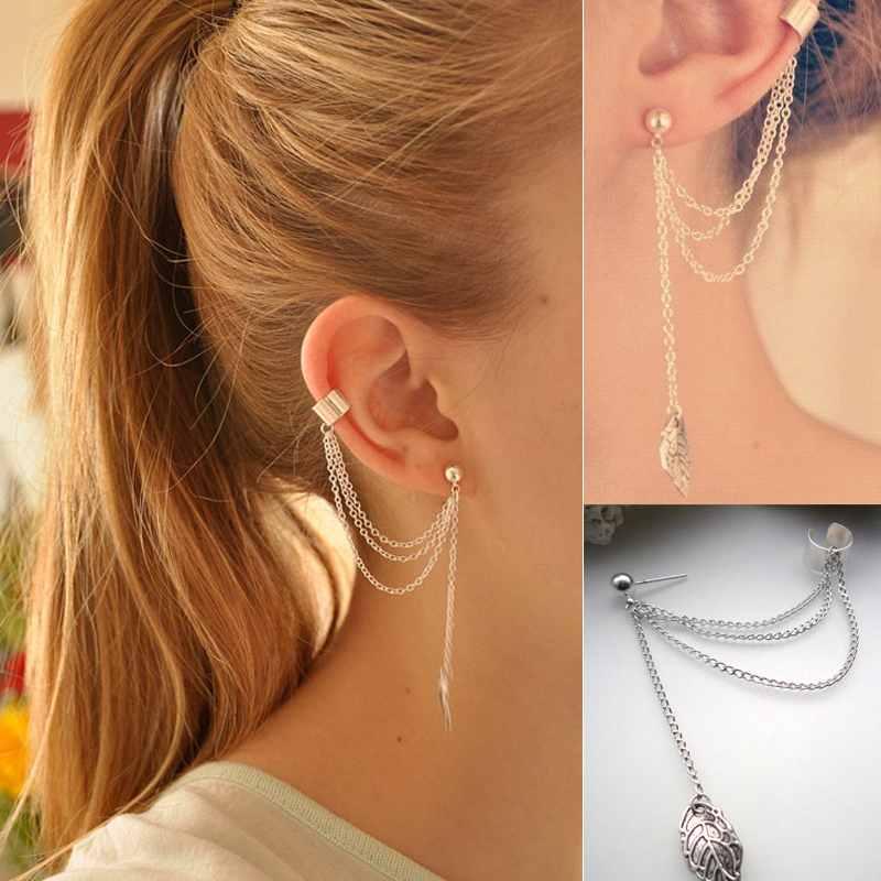 2 шт женщин мода ювелирные изделия прохладно цепь листьев тассел мотаться ухо манёеты обернуть серьги горящее, принадлежащий категории Клипсы и относящийся к Ювелирные изделия на сайте AliExpress.com | Alibaba Group