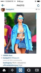 sunglasses,rihanna mirror sunglasses blue