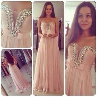 dress light pink pink diamonds pearl prom prom dress long. prom dress long classy classic girly cute beautiful tumblr weheartit bridesmaid shoes
