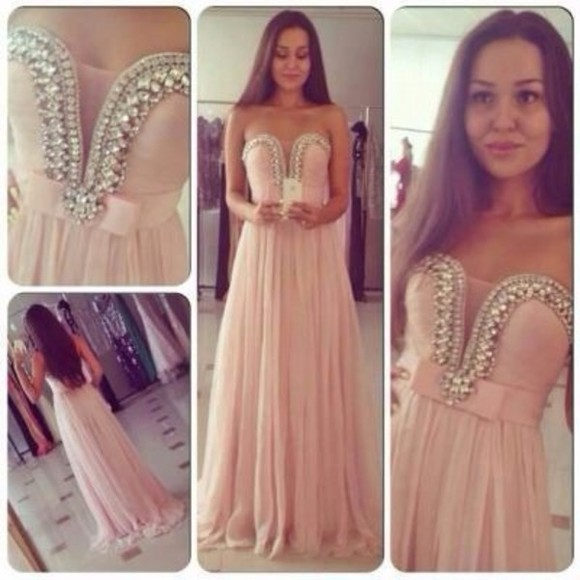 dress pink girly prom dress prom tumblr pearls light pink diamonds long. prom dress long classy classic cute beautiful weheartit bridesmaid