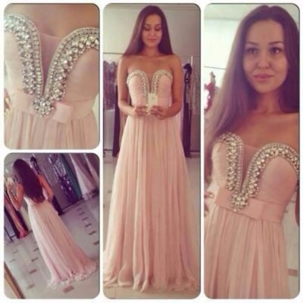 dress light pink pink diamonds pearl prom prom dress long. prom dress long classy classic girly cute beautiful tumblr weheartit bridesmaid shoes