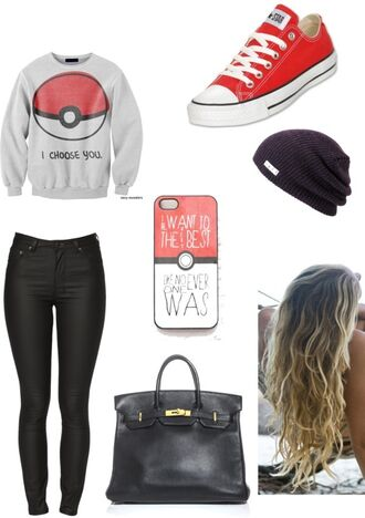 sweater pokemon oversized sweater belt shirt charmander squirtle poem grey sweater hat
