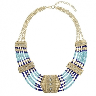 jewels necklace gold statement necklace collar blue necklace beaded