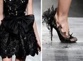 shoes,heels,high heels,lace,black lace,designer,runway