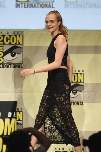 skirt top cara delevingne lace lace skirt midi skirt black comic con