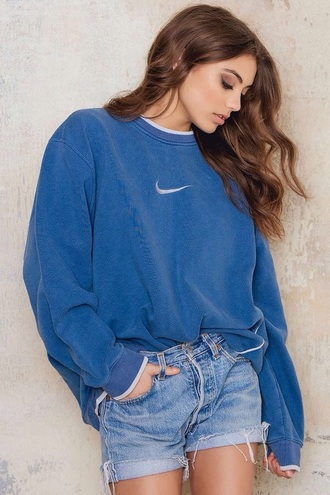 sweater vintage blue nike nike sign oversized sweater all blue outfit