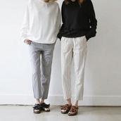 pants,black,white,grey,stripes,black stripes,white stripes,grey stripes,loose,loose pants