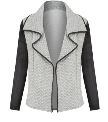 Misumi Grey Leather-Look Trim Quilted Waterfall Jacket