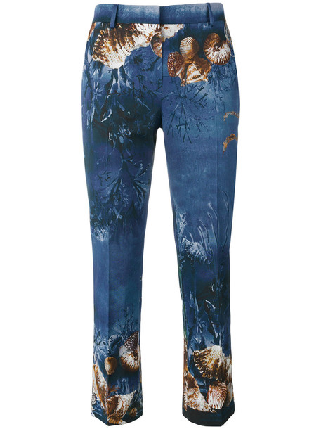 women spandex print blue pants