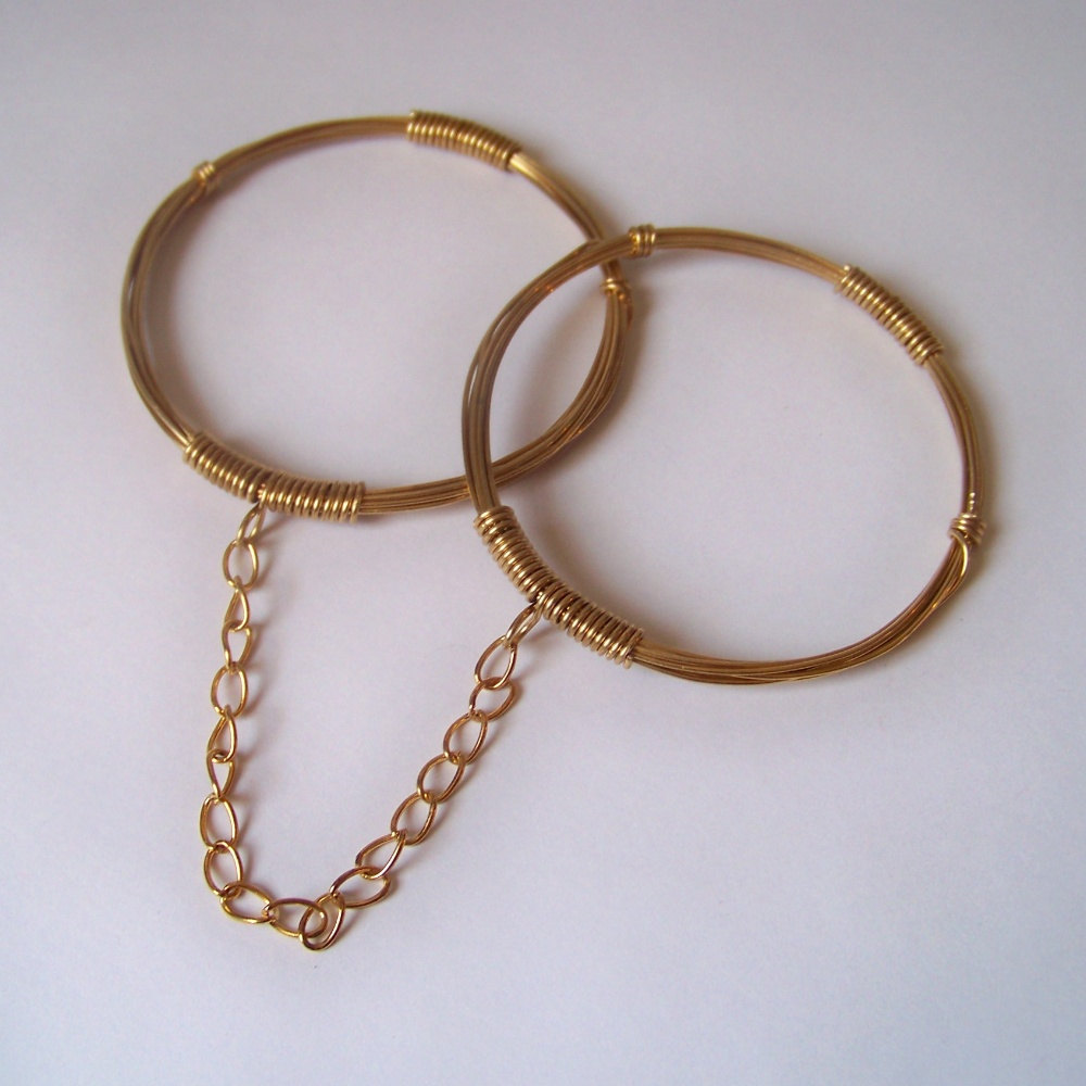 Brass Bangles - Brass Handcuff Bracelets - Stackable Bangles - Brass Bound Handcuff Bangles - DECO - Wire Wrapped Bangles